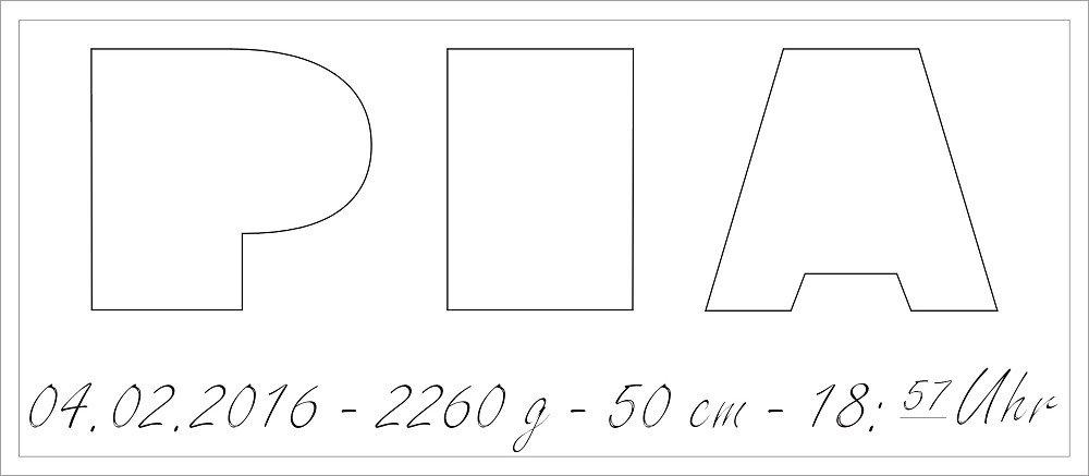 Alle Daten Buchstabenhöhe ca.14 cm