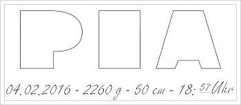 Alle Daten Buchstabenhöhe ca. 9cm - 11cm - 14cm