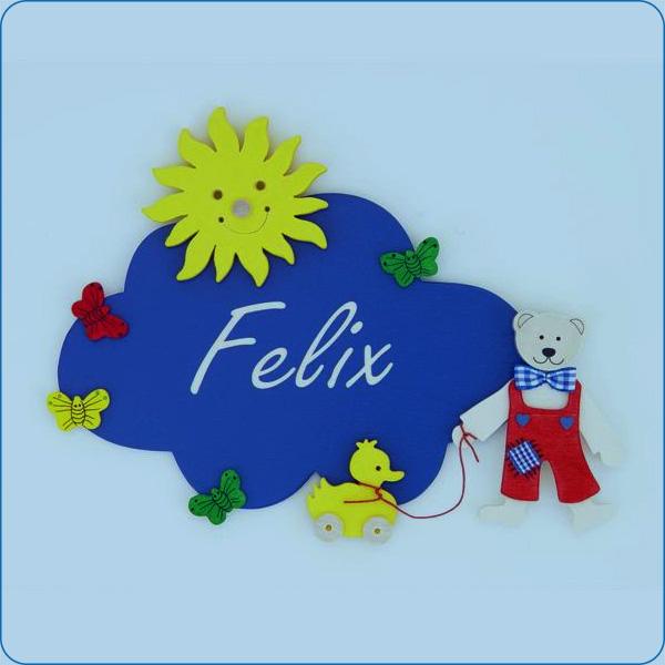 Teddy mit Ente (kl. Wolken-Türschild)