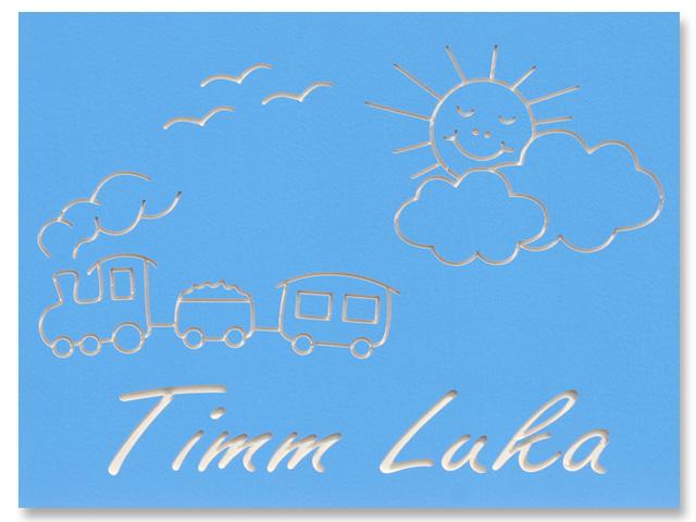 Kinderzimmer-T�rschild Wolkensonne und Zug