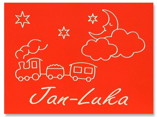 Kinderzimmer-Türschild Wolken-Mond und Zug